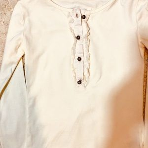 Persnickety  knit ivory ruffled top blouse